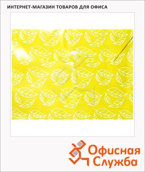 фото: Папка-конверт на кнопке Бюрократ листочки желтая непрозрачная А4, PK813NYEL