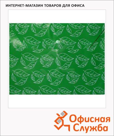 Папка-конверт на кнопке Бюрократ листочки зеленая, непрозрачная, А4, PK813NGRN