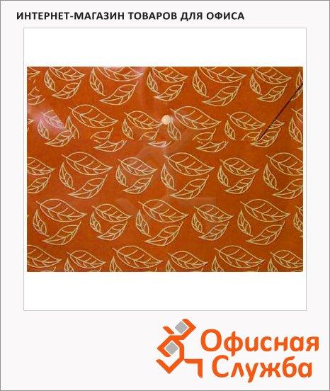 фото: Папка-конверт на кнопке Бюрократ листочки оранжевая непрозрачная А4, PK813NOR
