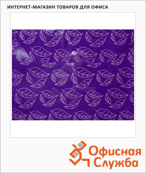 Папка-конверт на кнопке Бюрократ листочки фиолетовая непрозрачная, А4, PK813NVIO