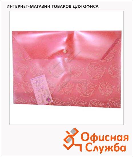 фото: Папка-конверт на кнопке Бюрократ листочки красная А4, PK810RED