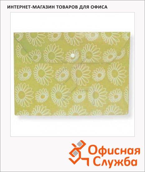 фото: Папка-конверт на кнопке Бюрократ Ромашки желтая А4, PK820YEL