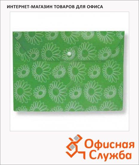 Папка-конверт на кнопке Бюрократ Ромашки зеленая, А4, PK820GRN