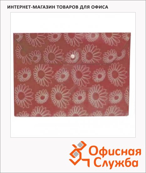 Папка-конверт на кнопке Бюрократ Ромашки красная, А4, PK820RED