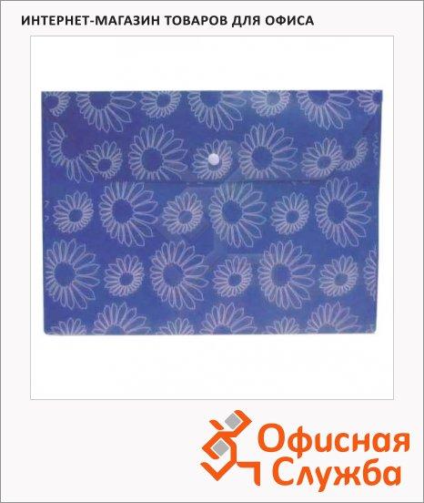 Папка-конверт на кнопке Бюрократ Ромашки синяя, А4, PK820BLU
