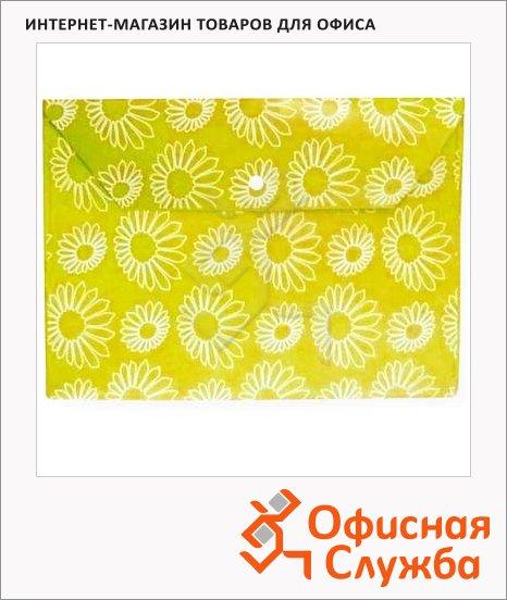 Папка-конверт на кнопке Бюрократ Ромашки желтая непрозрачная, А4, PK823NYEL