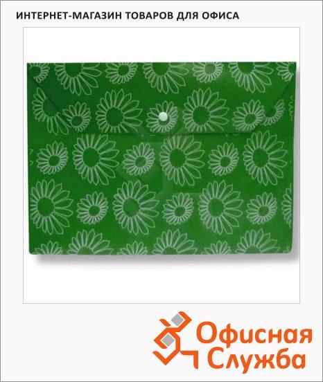 фото: Папка-конверт на кнопке Бюрократ Ромашки зеленая непрозрачная А4, PK823NGRN