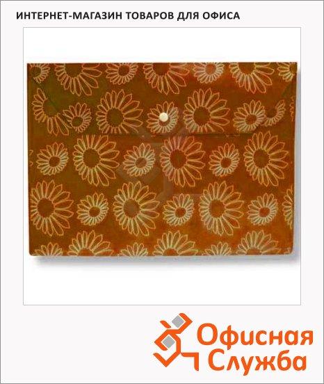 фото: Папка-конверт на кнопке Бюрократ Ромашки оранжевая непрозрачная А4, PK823NOR