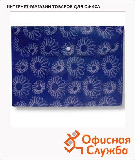 фото: Папка-конверт на кнопке Бюрократ Ромашки синяя непрозрачная А4, PK823NBLU