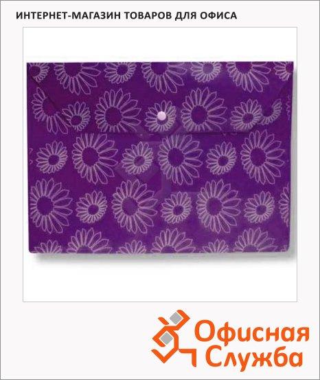 фото: Папка-конверт на кнопке Бюрократ Ромашки фиолетовая непрозрачная А4, PK823NVIO