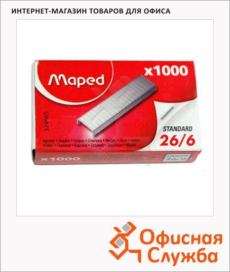 фото: Скобы для степлера Maped №26/6 никелированные, 1000шт, 324605