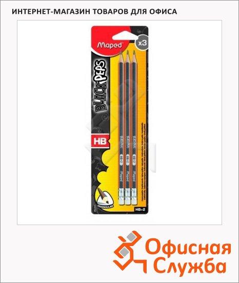 Набор чернографитных карандашей Maped Black Pep's НВ, трехгранные, с ластиком, 3шт, 851711
