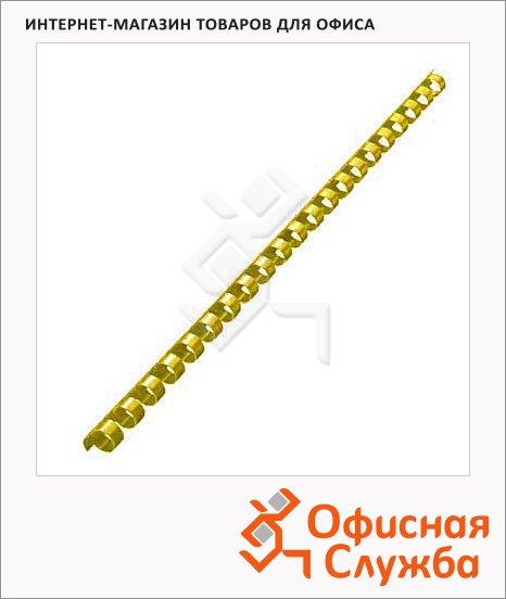 Пружины для переплета пластиковые Office Kit желтые, на 40-70 листов, 10мм, 100шт, кольцо, BP2159