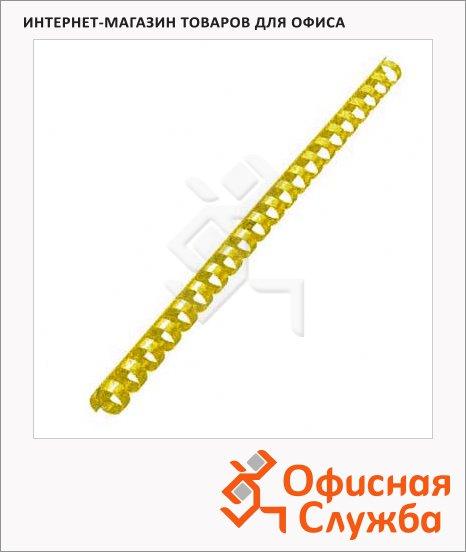 Пружины для переплета пластиковые Office Kit желтые, на 90-110 листов, 14мм, 100шт, кольцо, BP2160