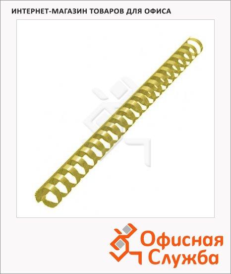 Пружины для переплета пластиковые Office Kit желтые, на 140-170 листов, 19мм, 100шт, кольцо, BP2162