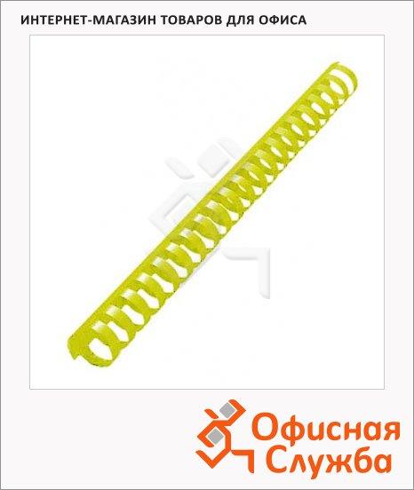Пружины для переплета пластиковые Office Kit желтые, на 170-210 листов, 22мм, 50шт, кольцо, BP2163