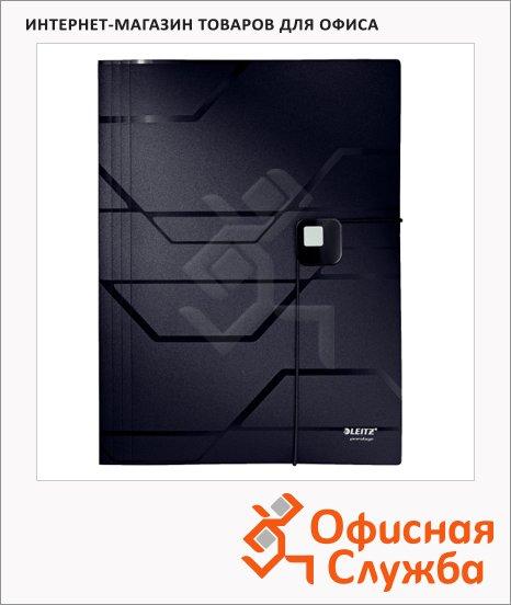 Пластиковая папка на резинке Leitz Prestige черная, A4, до 150 листов, 46080095