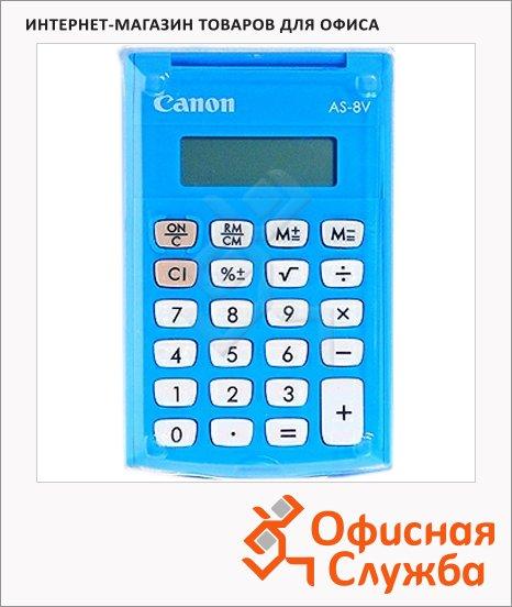 Калькулятор карманный Canon AS-8 голубой, 8 разрядов