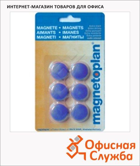 Магниты Magnetoplan Hobby d=25х8мм, 6шт/уп, синие