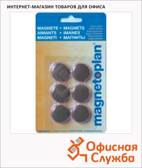 Магниты Magnetoplan Hobby d=25х8мм, 6шт/уп, черные