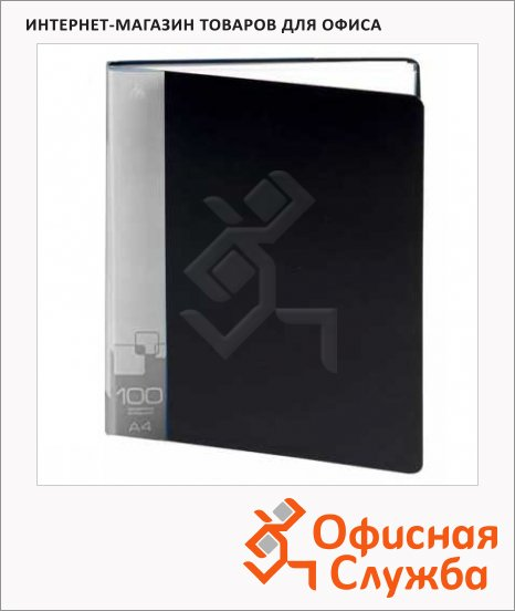 фото: Папка файловая Бюрократ черная А4, на 100 файлов, BPV100BLCK