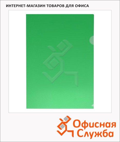 Папка-уголок Бюрократ зеленая прозрачная, A4, 150мкм, EE310/1GREEN