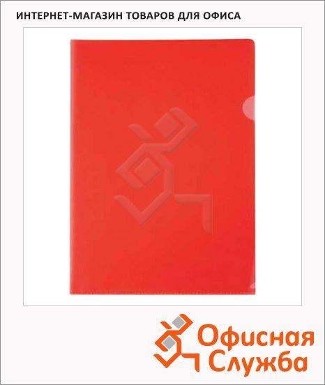 Папка-уголок Бюрократ красная прозрачная, A4, 150мкм, EE310/1RED