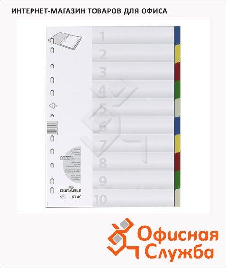 Цветовой разделитель листов Durable 10 разделов, А4, 6740-27