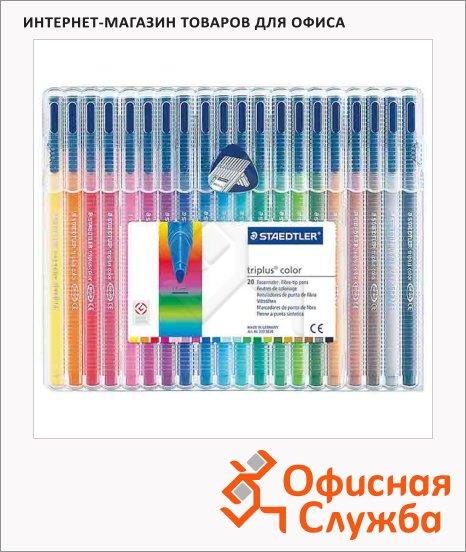 фото: Фломастеры для рисования Staedtler TriplusСolor 20 цветов трехгранные, в пластиковом футляре