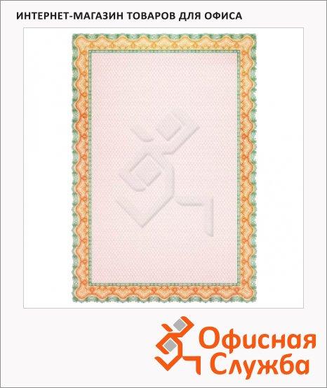 Сертификат-бумага Decadry оранжево-зеленая рамка, А4, 115г/м2, 25 листов