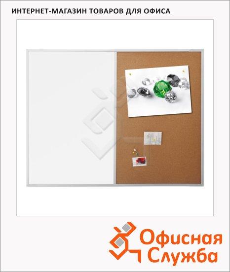 Доска комбинированная Magnetoplan SP 1240470 90х120см, белая/ коричневая, лаковая/ пробковая, магнитная маркерная, алюминиевая рама