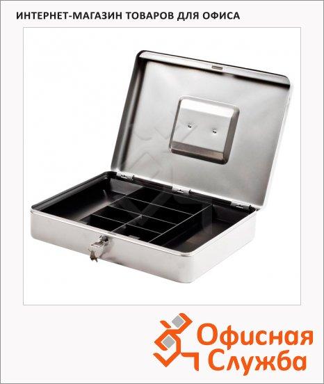 Кэшбокс Office Force T01, ключевой замок, серебристый, 9х28х37см