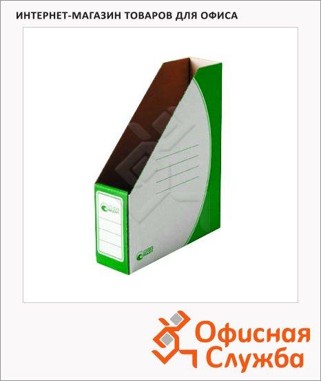 фото: Накопитель вертикальный для бумаг Промтара Офис Стандарт А4 75мм, зеленый, 275з