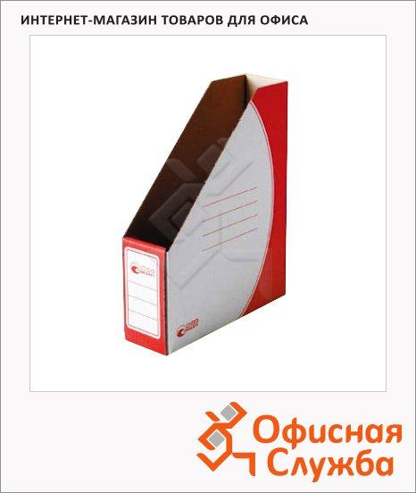 фото: Накопитель вертикальный для бумаг Промтара Офис Стандарт А4 75мм, красный, 275к