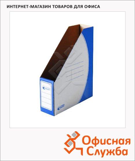 фото: Накопитель вертикальный для бумаг Промтара Офис Стандарт А4 75мм, синий, 275с