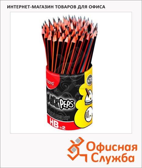 Набор чернографитных карандашей Maped Black Pep's НВ, трехгранные, 72шт, в подставке-стакане, с ластиком, 851759