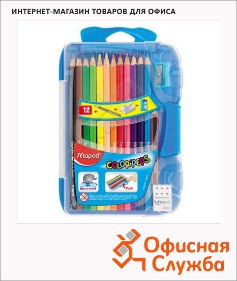 Набор цветных карандашей Maped Color Peps 12 цветов, с ластиком и точилкой, 832032