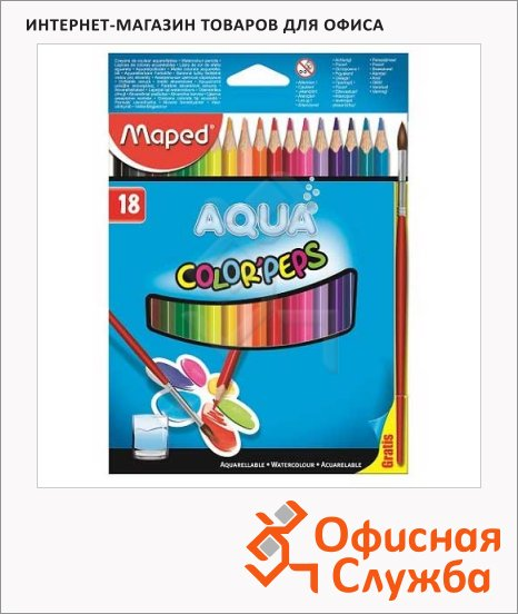 фото: Набор акварельных карандашей Maped Color'Peps 18 цветов с кистью, 836012