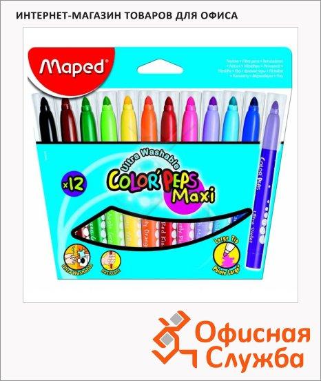 Фломастеры Maped Color'peps Long Life 12 цветов, трехгранные, смываемые, смываемые