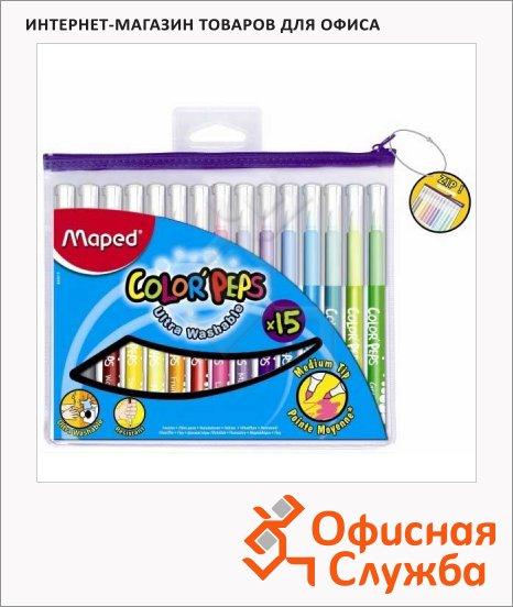 фото: Фломастеры для рисования Maped Color'peps Long Life 15 цветов трехгранные, смываемые, пластиковая упаковка на молнии