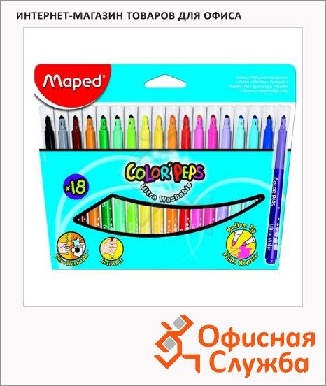 Фломастеры Maped Color'peps Long Life 18 цветов, трехгранные, смываемые, смываемые