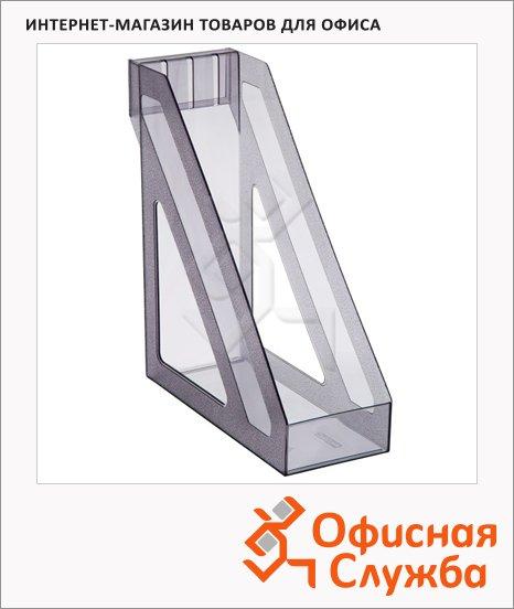 Накопитель вертикальный для бумаг Стамм Базис А4, 100мм, серый тонированный, ЛТ36
