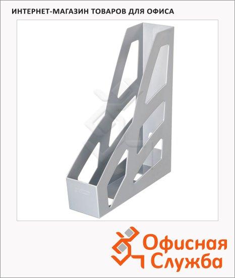 фото: Накопитель вертикальный для бумаг Стамм Лидер А4 70мм, серый металлик, ЛТ123