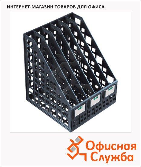 фото: Накопитель вертикальный для бумаг Стамм А4 6 секций, 240мм, черный, ЛТ87