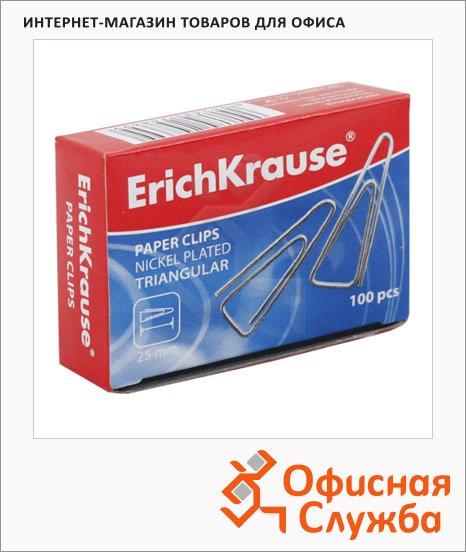 Скрепки канцелярские Erich Krause 25мм, треугольные, никелированные, 100шт/уп, 24869