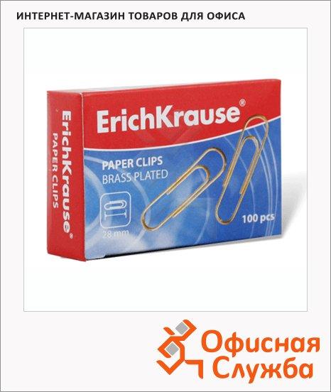 Скрепки канцелярские Erich Krause 28мм, круглые, медные, 100шт/уп, 24867