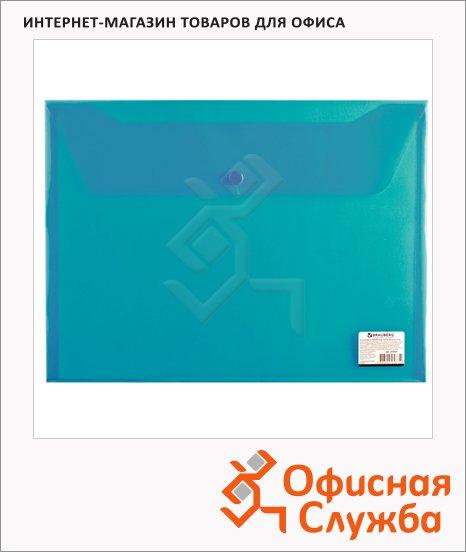 фото: Папка-конверт на кнопке Brauberg зеленая прозрачная А4