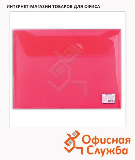 Папка-конверт на кнопке Brauberg красная, А4