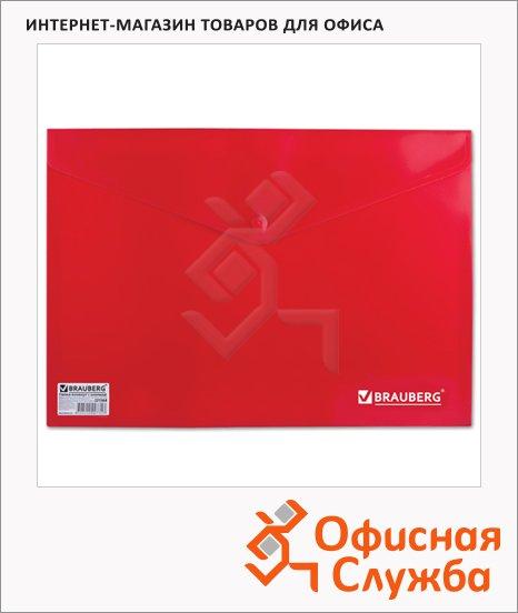 фото: Папка-конверт на кнопке Brauberg 221364 А4,красная