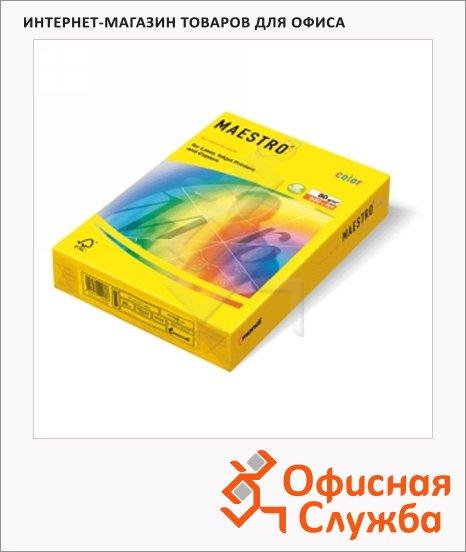 Цветная бумага для принтера Maestro Color желтый неон, A4, 500 листов, 80г/м2, NEOGB